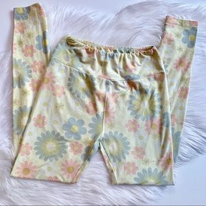 LulaRoe | Light Yellow Floral Pattern Leggings